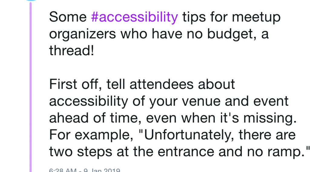 Some accessibility tips for organizers with no budget