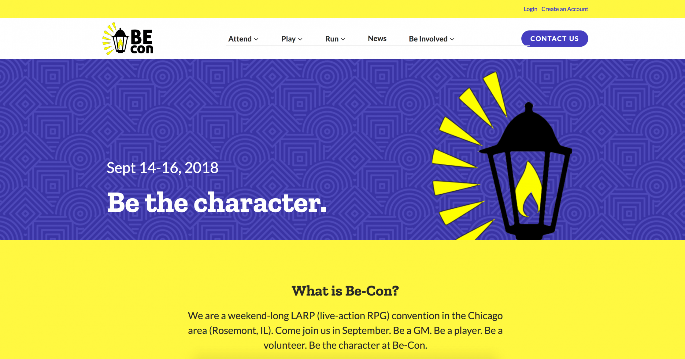 Be-Con homepage screenshot