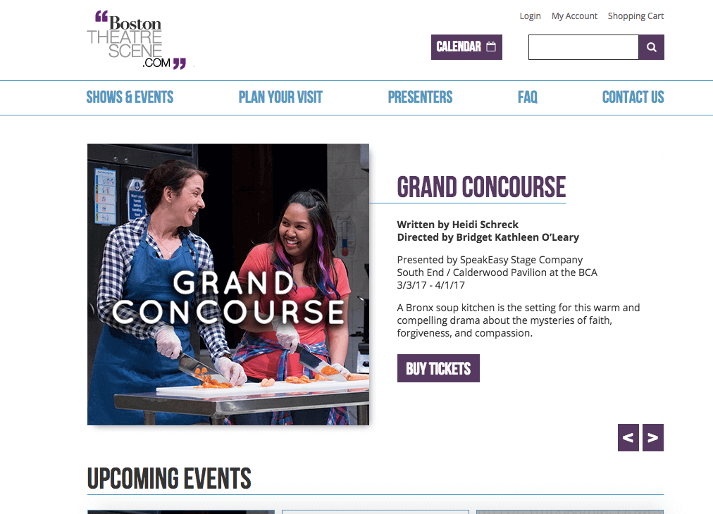 Screenshot of Boston Theater Scene website