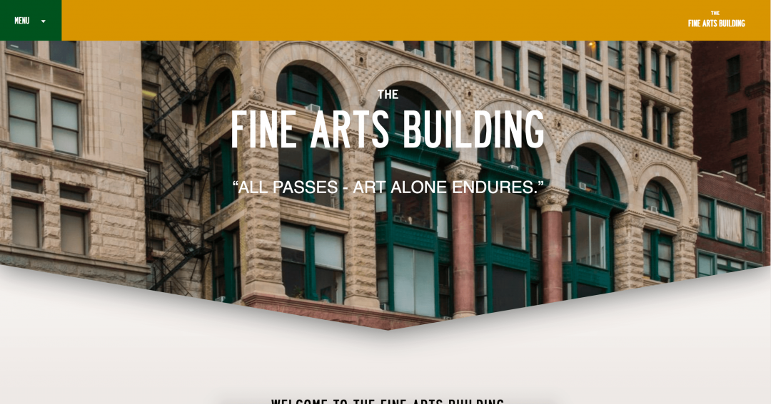 Screenshot of Fine Arts Building homepage