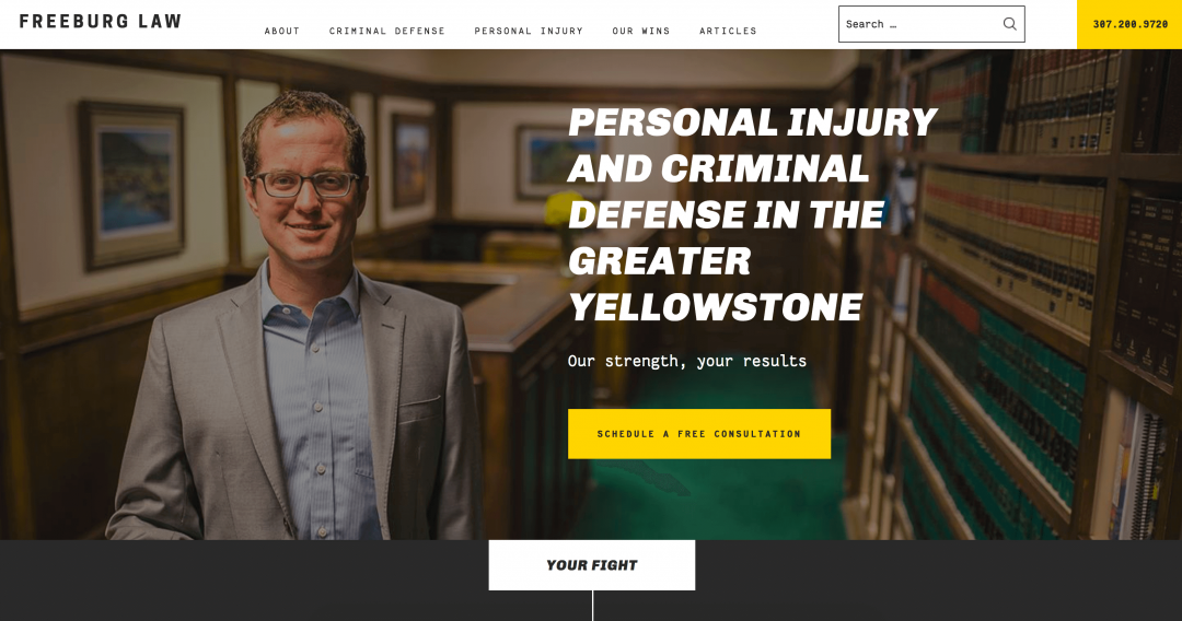 Screenshot of Freeburg Law homepage