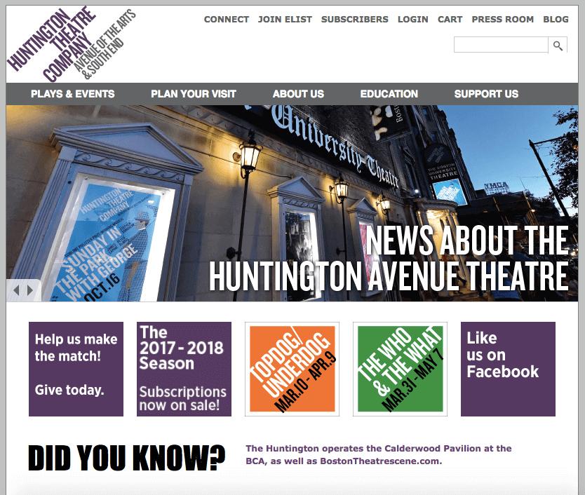 Screenshot of Huntington Theater Company website