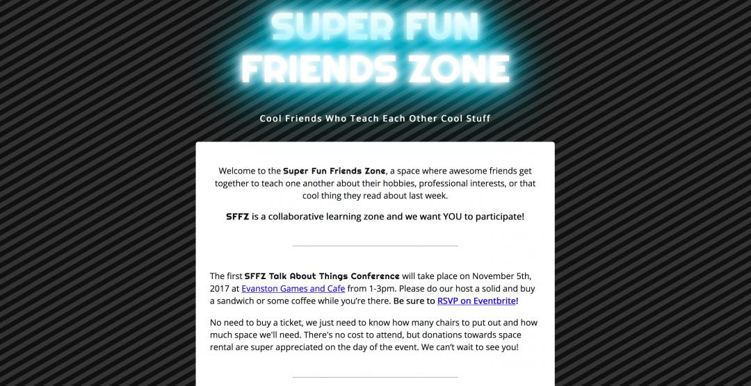 Super Fun Friends Zone homepage
